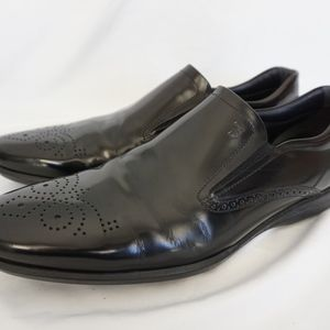 TOD'S Black Wingtip Brown Slip On Classic Loafers